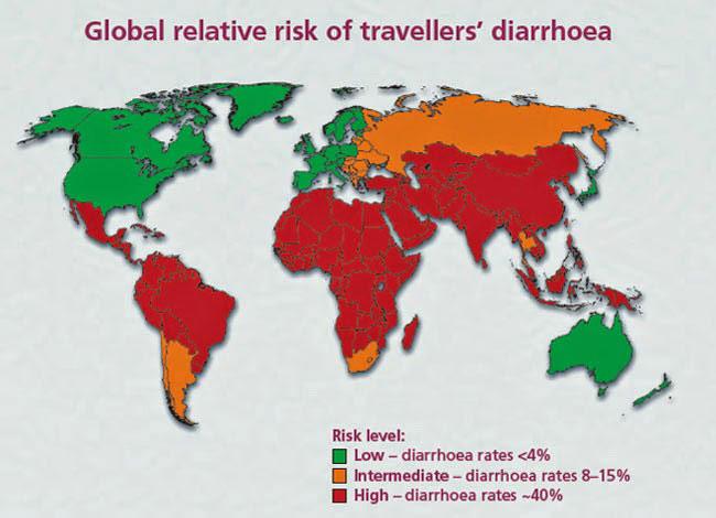 Шансы получить диарею в странах
